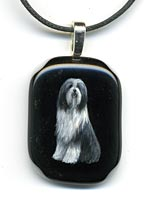 Painted Glass Pendant - Bearded Collie
