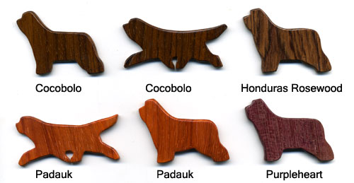 Exotic Hardwood Bearded Collie Pins