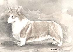 Pembroke Welsh Corgi Monochrome Painting