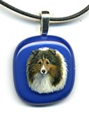 Painted Glass Pendant - Shetland Sheepdog